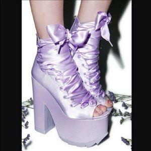 YRU Ballet Bae Purple Satin Chunky Platform Shoes